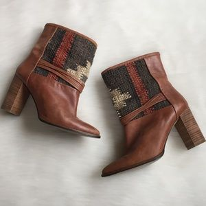 Anthropologie Brown Lybia Kilim Boots Booties